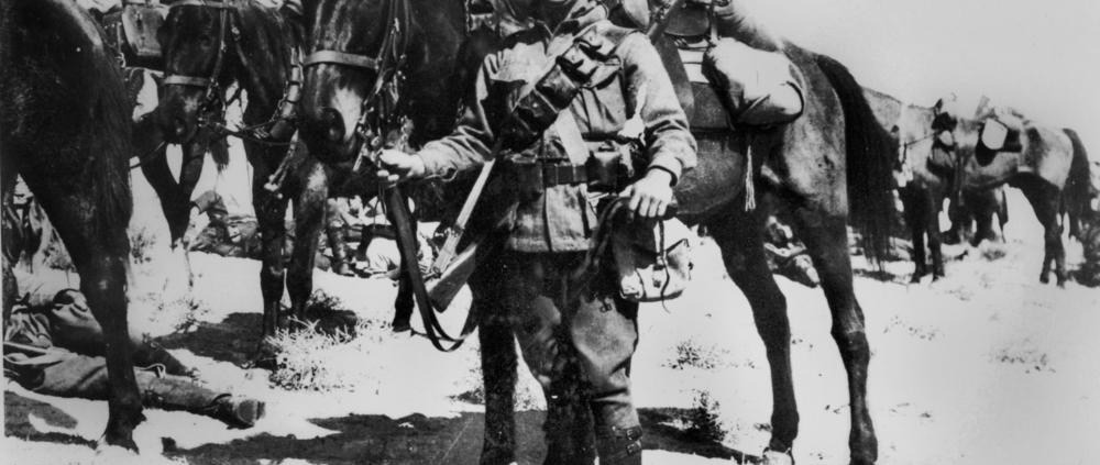 historical photo of Australian solider and light horse